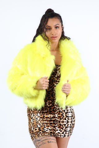 Neon Yellow Fur Jacket w/ Collar - Dope Fein Boutique