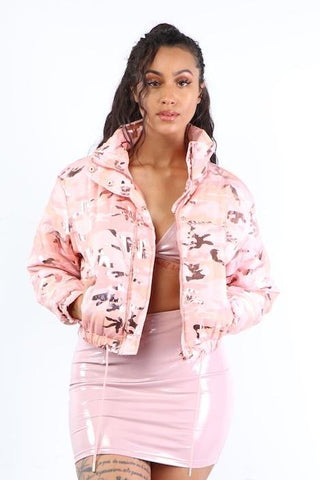 Pink Camo Puffer Jacket - Dope Fein Boutique