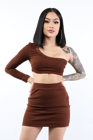 Knit One Shoulder Skirt Set - Brown - Dope Fein Boutique