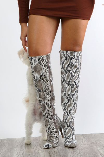 Snake Print Thigh Highs - Dope Fein Boutique