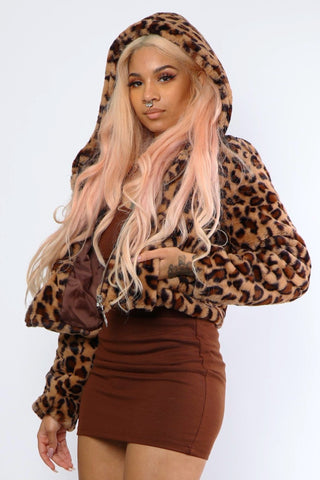 Cheetah Fuzzy Faux Fur Jacket - Dope Fein Boutique