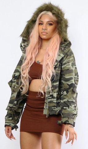 Camo Fur Hood Coat - Dope Fein Boutique