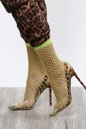 Fishnet Heels - Neon & Cheetah - Dope Fein Boutique