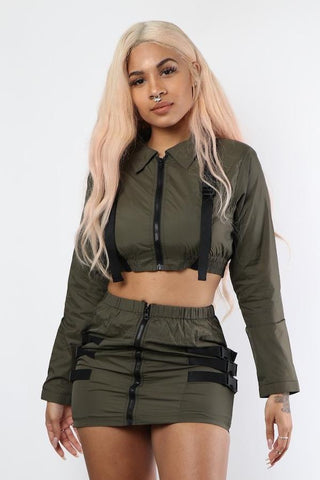 Olive Buckled 2 Piece Set - Dope Fein Boutique