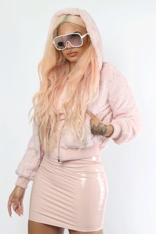 Pink Fuzzy Faux Fur Jacket - Dope Fein Boutique