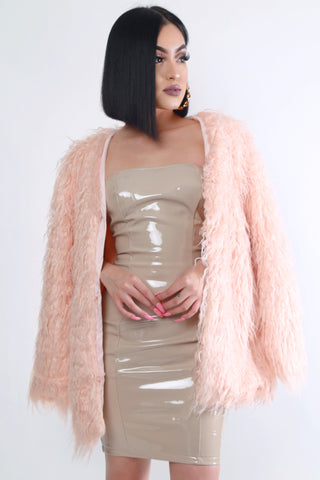 Pink Faux Fur Jacket - Dope Fein Boutique