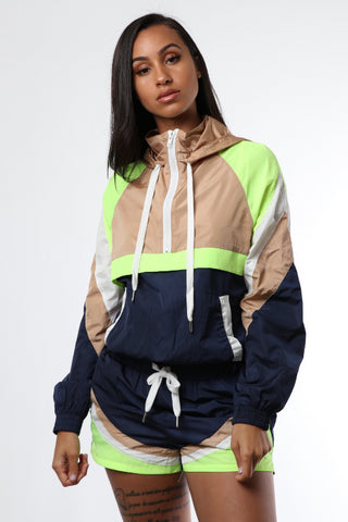 Neon Contrast Windbreaker Short Set