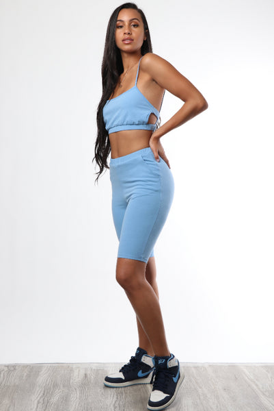 Baby Blue Cami Biker Set - Dope Fein Boutique