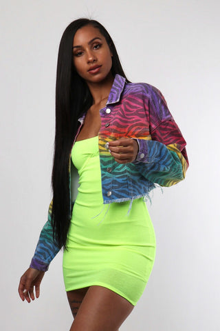 Tie Dye Zebra Crop Jacket - Dope Fein Boutique
