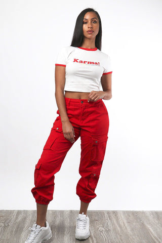 Red Cargo Joggers - Dope Fein Boutique