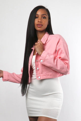 Pink Crop Jacket - White Buttons - Dope Fein Boutique
