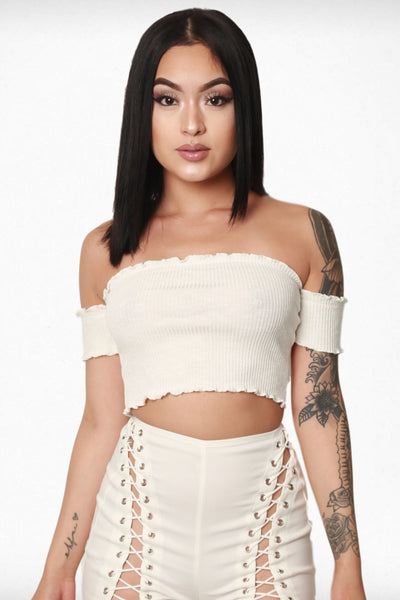 Off The Shoulder Ruffle Crop - White