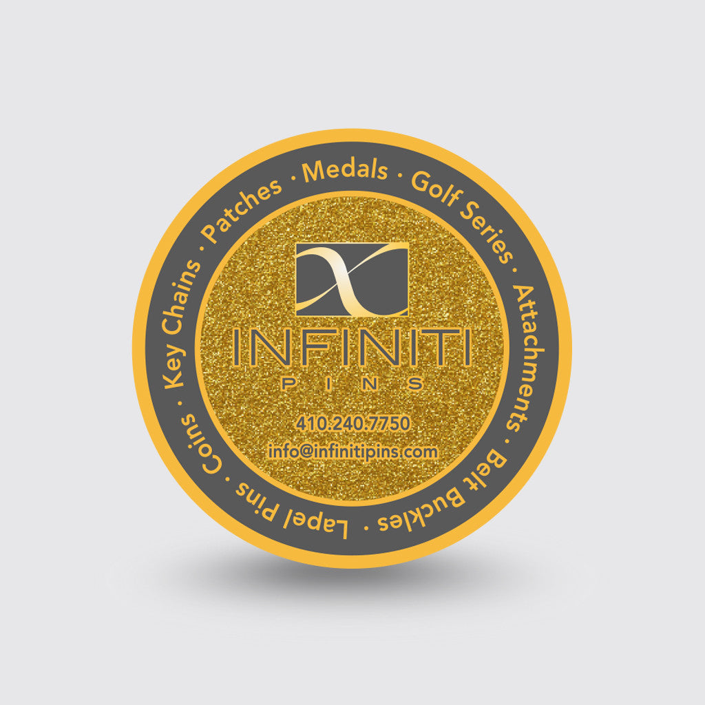 """Infiniti Pins"" Custom Coin Sample"