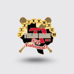 """Texas Rage Softball"" Custom Pin Sample"