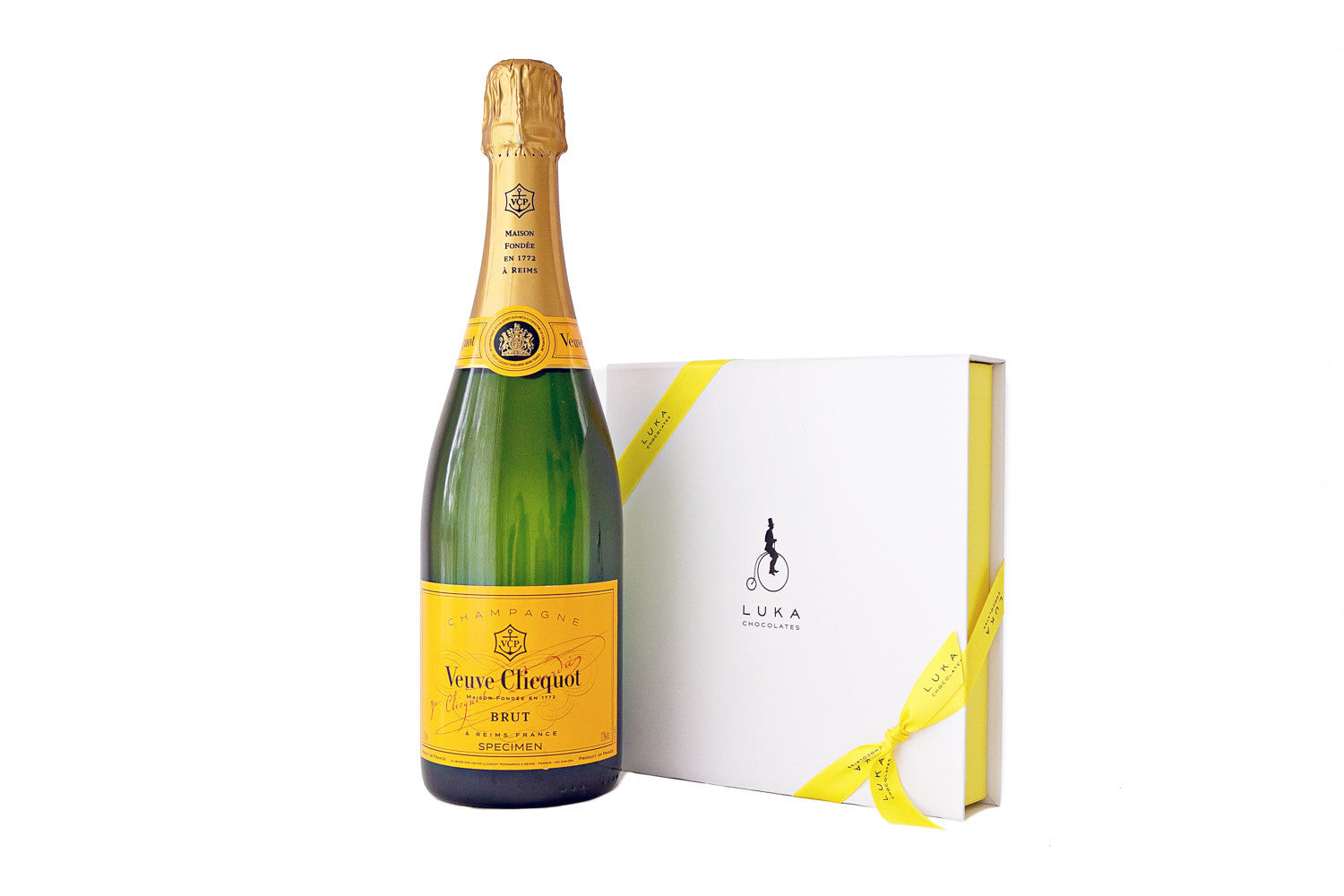 Champagne and chocolate gift pack luka chocolates premium veuve cliquot champagne with a 25 piece chocolate gift box negle Choice Image