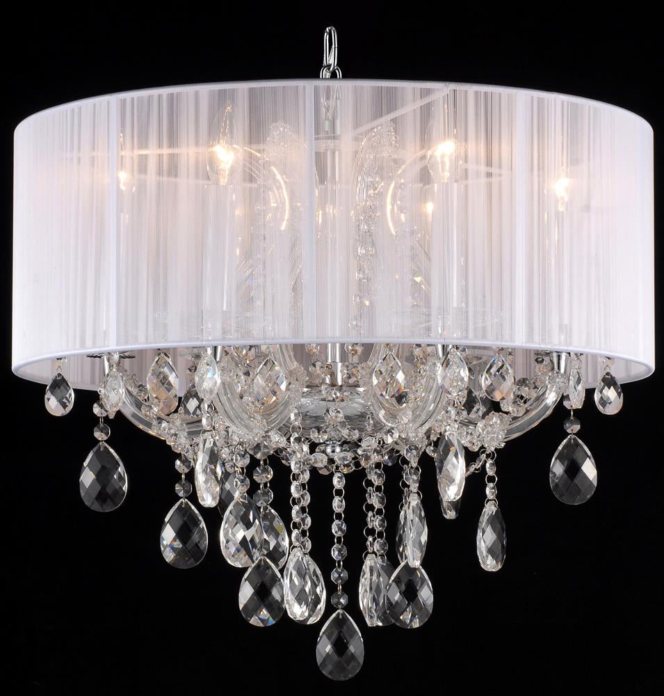 6 Light White Shade Clear Crystal Fixture 2615-C