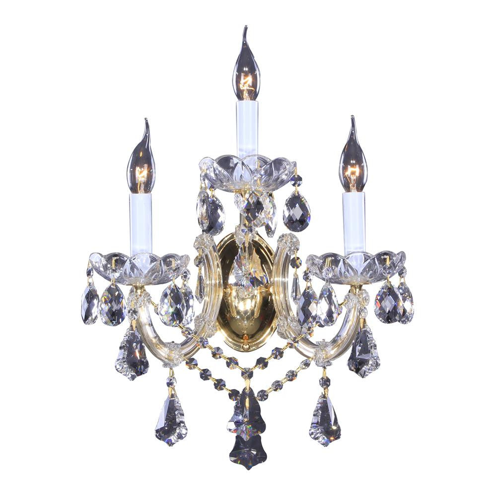 3 Light Clear Crystal Wall Sconce BET29