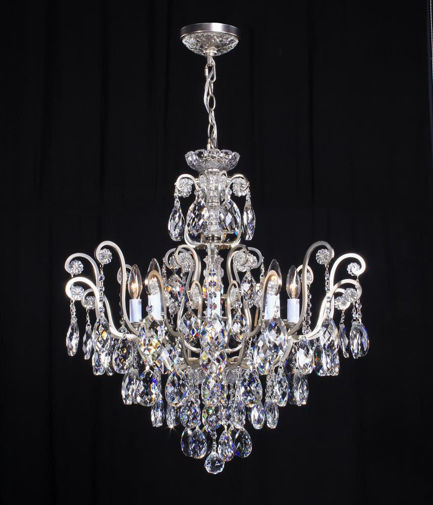 10 Light Clear Crystal Pewter Color Chandelier BET64PEW