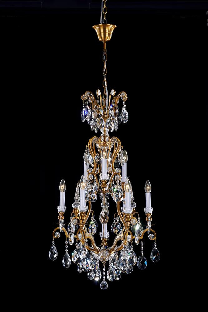 10 Light Clear Crystal Chandelier In Brass Color BET64