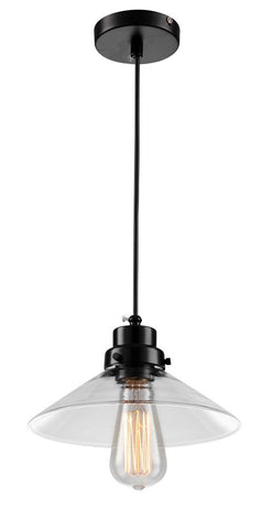 1 Light Black Frame Clear Saucer Pendant DU10