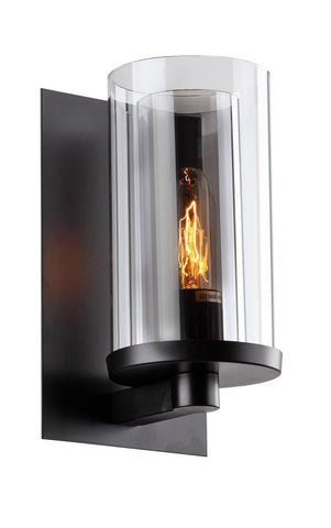 1 Light Black Frame Clear Shade Wall Sconce DU11