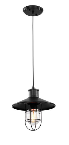 1 Light Black Frame with Shade Pendant. DU17