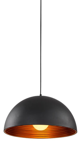 1 Light Black and Gold Aluminum 1/2 Moon Shade Pendant DU23