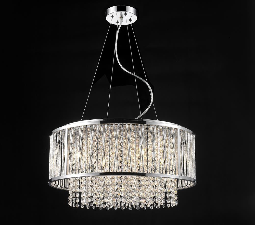 8 Light Round Metal Frame With Clear Crystal Fixture YS579-8P