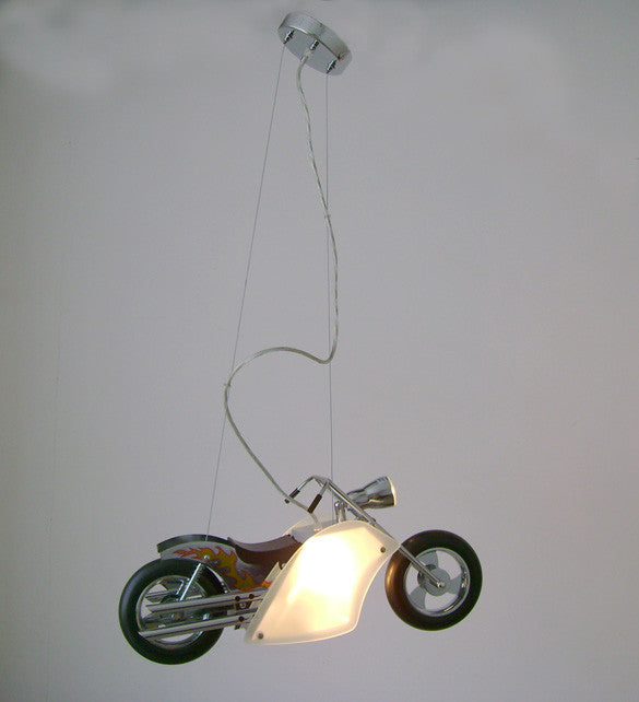 2 Light Motorcycle Frame White and Yellow Metal Pendant ZA11