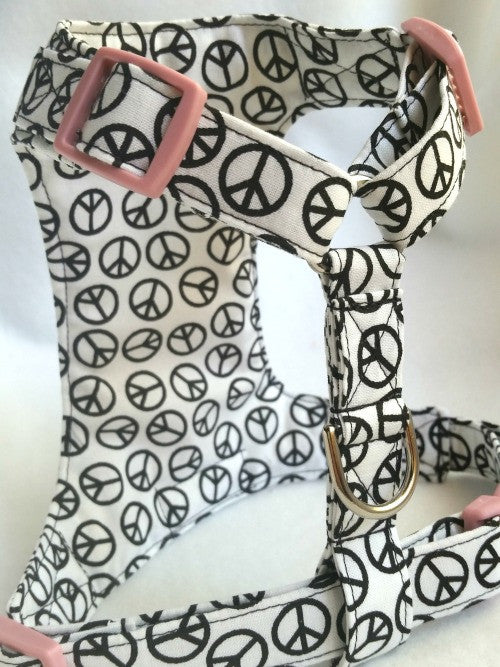Peace White Custom Made Dog Harness