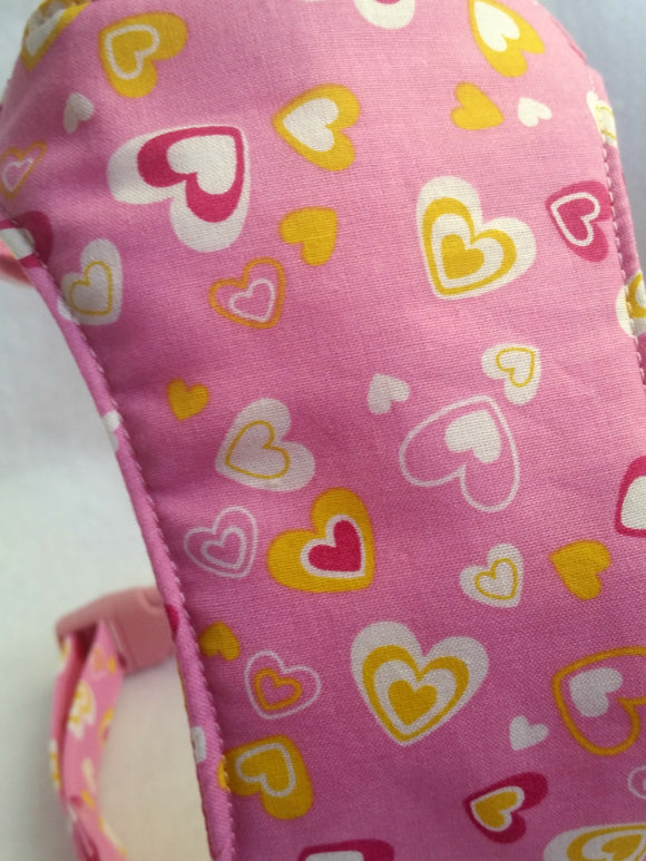 Pink Hearts Soft Dog Harness