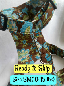Harness & Matching Leash (Size SM - Blue Flowers)