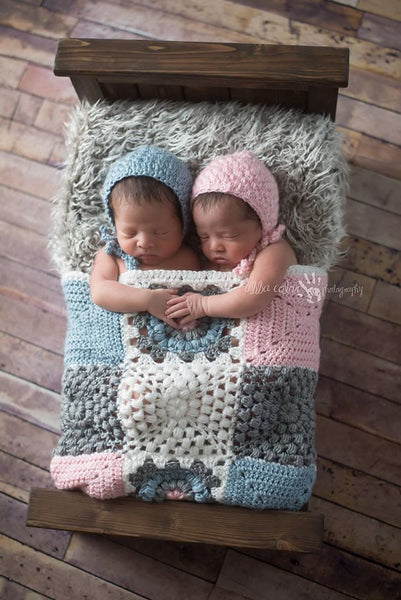 Gray, Pink, Light Country Blue and White Mini Afghan Mini Afghan - ReiLynn Designs Photography Props