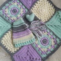 Mint to Be Mini Afghan- Mint, Lavender, Ivory and Gray