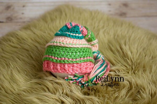 Peach, Green, Coral and Teal Tassel Hat