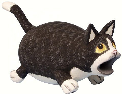 Big Mouth Black and White Cat Bird House