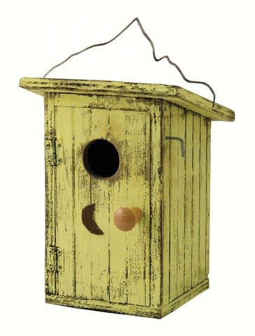 Birdie Loo Yellow Outhouse Bird House