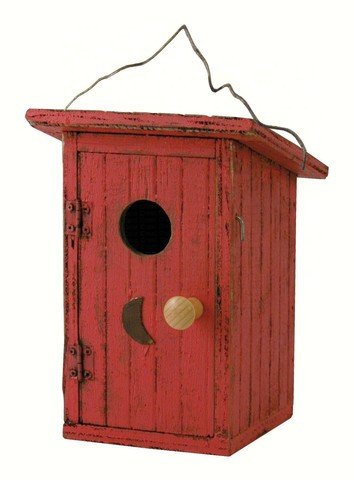 Birdie Loo Red Outhouse Bird House