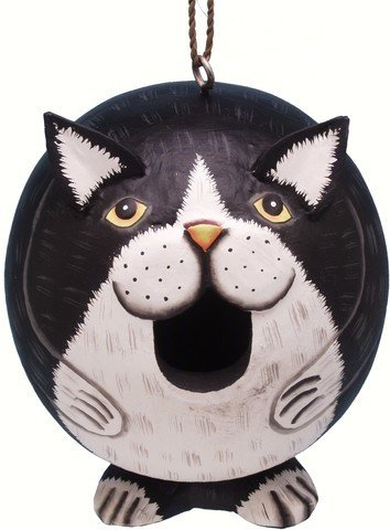 Black and White Cat Gord O Bird House