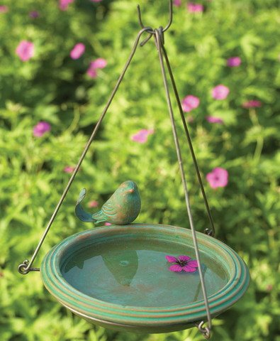 Hanging Bird Bath Teal Round