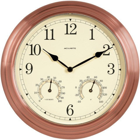 Thirteen Inch Copper Indoor Outdoor Clock