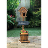 Welcome Bird House Rustic Barrel Planter