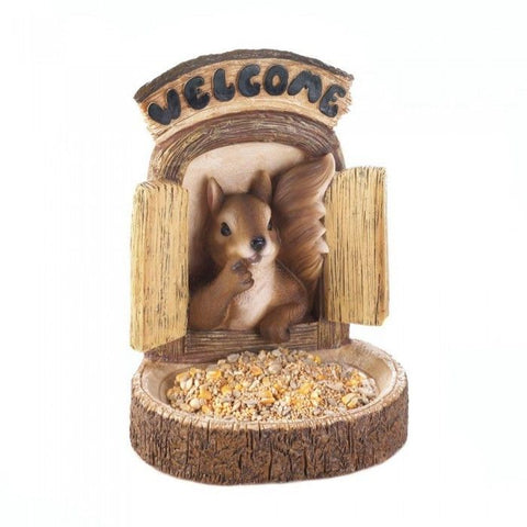 Welcome Squirrel Wall Hanging Bird Feeder