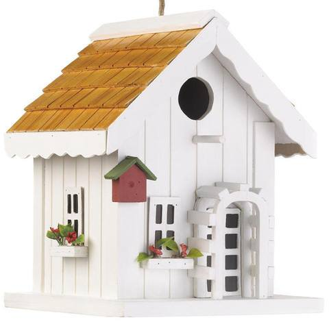 White Trellis Bird House