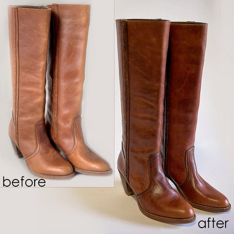 how to care for leather boots before and after picture