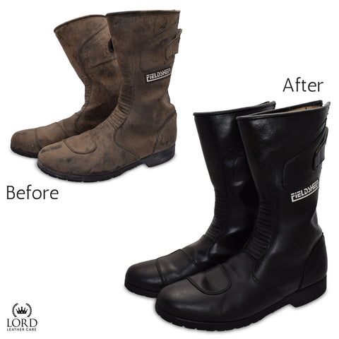 Leather conditioner for boots and shoes before and after.