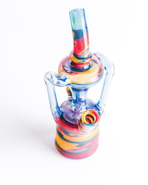 MattyPharo Double Uptake Mini Recycler Rig - 10mm, 45°Blue, Red & Yellow