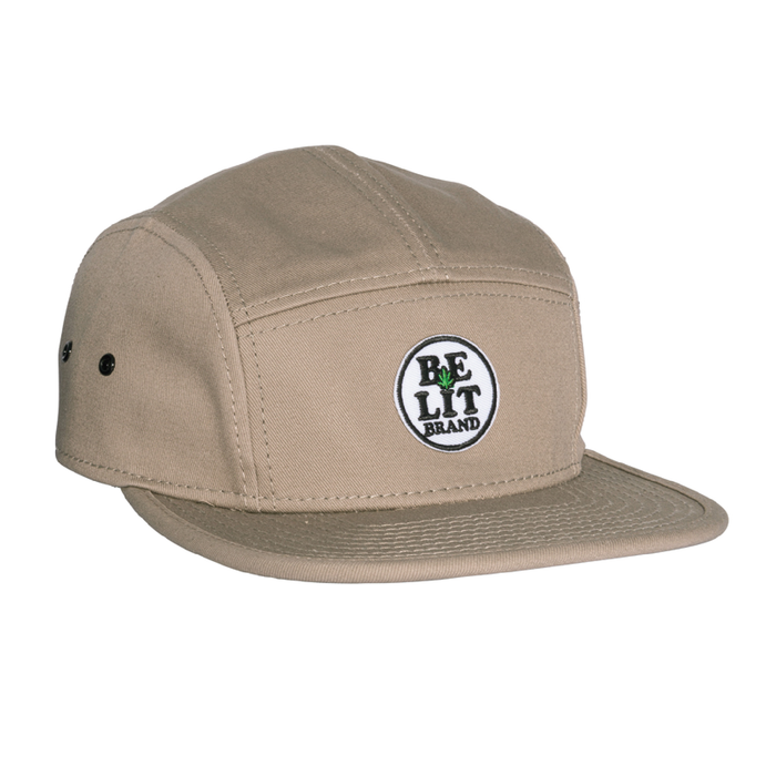 "Be Lit 5-Panel Hat in Khaki, ""Be Lit Brand"" Patchbelitbrandbelitbrand"