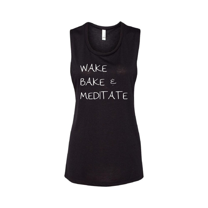 "Be Lit Boxy Tank, Black ""Wake Bake & Meditate"""