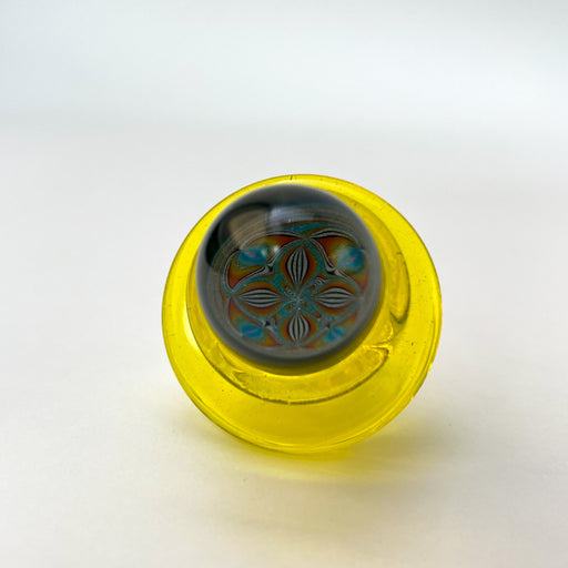 Icke Glass Pearl Spinner Carb CapsYellow